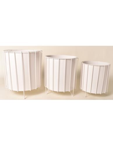 Osłonki metalowe Cylinder 3 szt. Białe