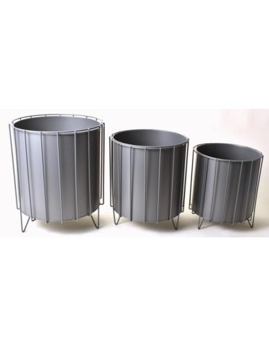 Osłonki metalowe Cylinder 3 szt. Szare