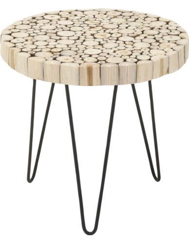 Stolik z Drewienek na metalowych nogach D50 cm