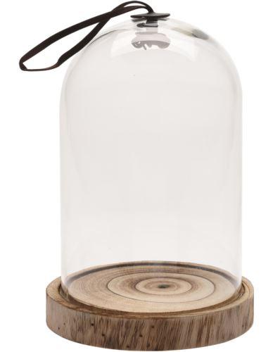 Klosz Szklany z podstawą Drewno D26