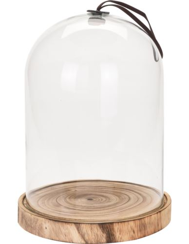 Klosz Szklany z podstawą Drewno D31