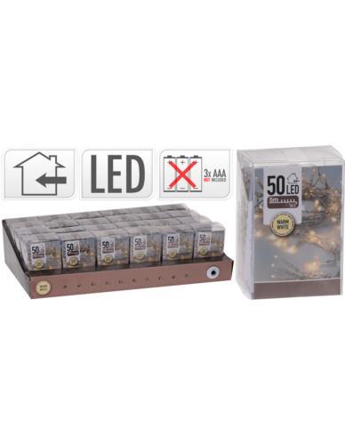Drucik 50 LED Baterie Srebro