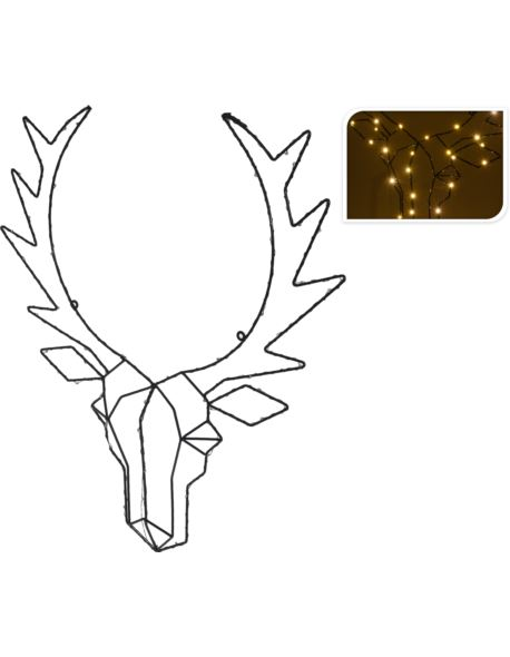 Głowa jelenia drut 50 LED Baterie
