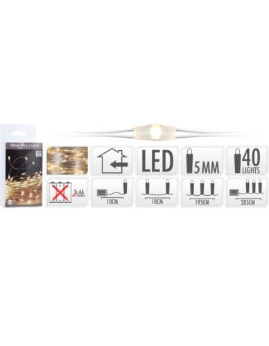 Drucik 40 LED Srebro Baterie
