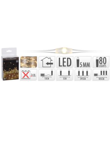 Drucik 80 LED Srebro Ciepły Baterie
