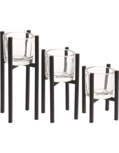 Świeczniki szklane tealight na stojakach 3 szt.
