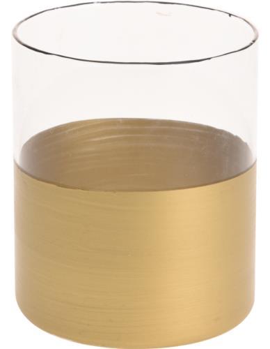 Lampion Szklany Cylinder Złoto 7cm