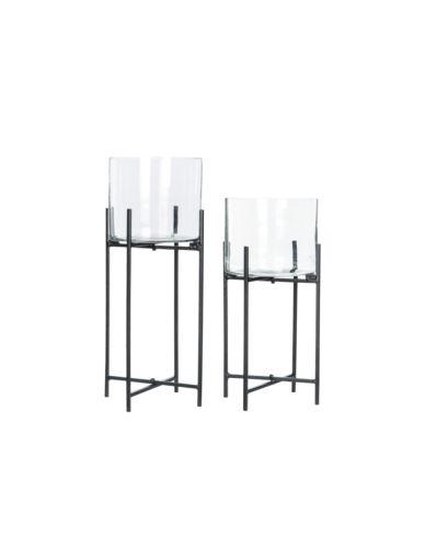 Doniczki szklane na stojakach czarne 2 szt.