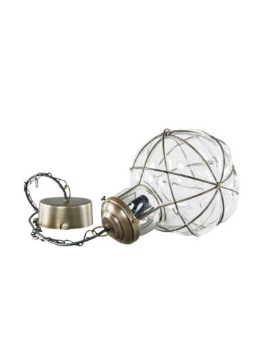 Lampa szklana kula złoto antik