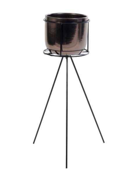 Doniczka ceramiczna na stojaku wysokim