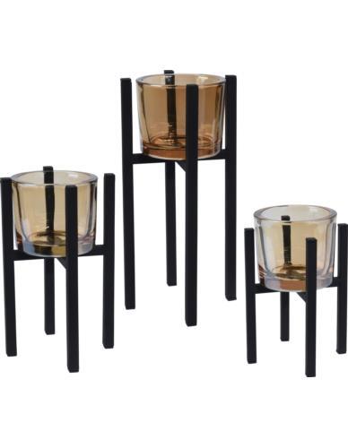 Świeczniki na stojakach 3 szt. (szkło dymione)