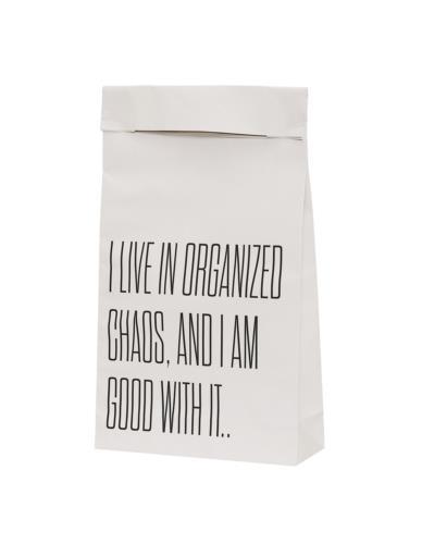 Papierowa torebka biała napis