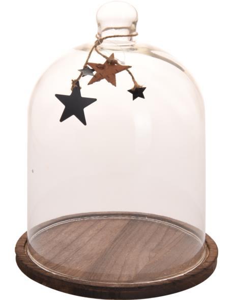 Klosz Szklany z podstawą Drewno i dekoracją D23