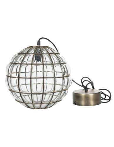 Lampa szklana kula złoto antik duża