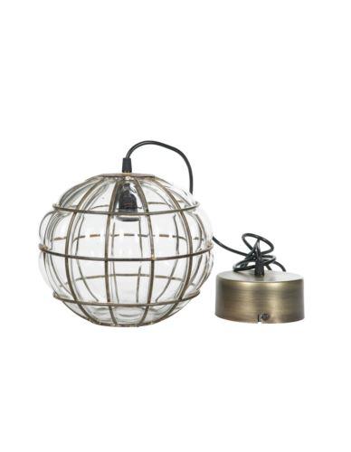 Lampa szklana kula złoto antik mała