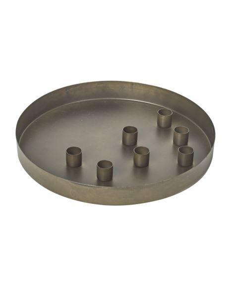 Taca metalowa z wkładami na świeczki ołówkowe