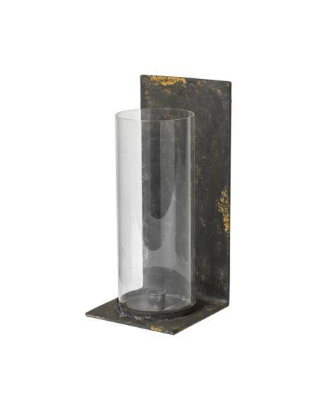 Świecznik Metalowy na ścianę ze szklanym wkładem