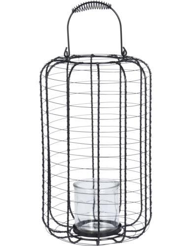 Lampion Metal Ażur Czarny H37 cm