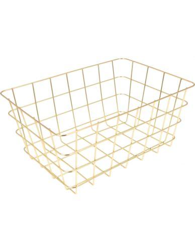 Koszyk Druciany Złoty prostokąt S