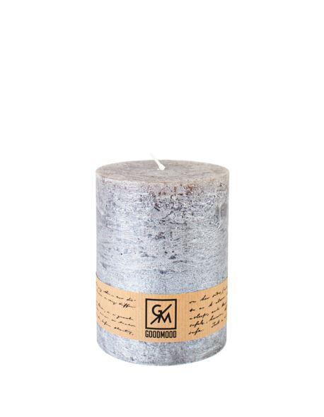 Świeca walec 130/100 mm stare srebro