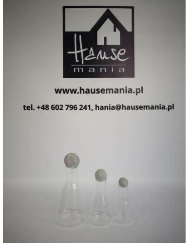 Butelki szklane z betonowym korkiem 3 szt.
