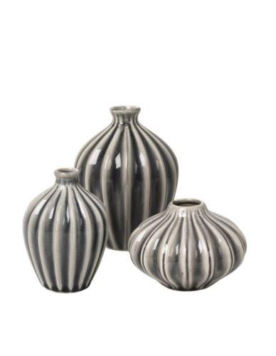 Wazoniki ceramiczne szare 3szt.