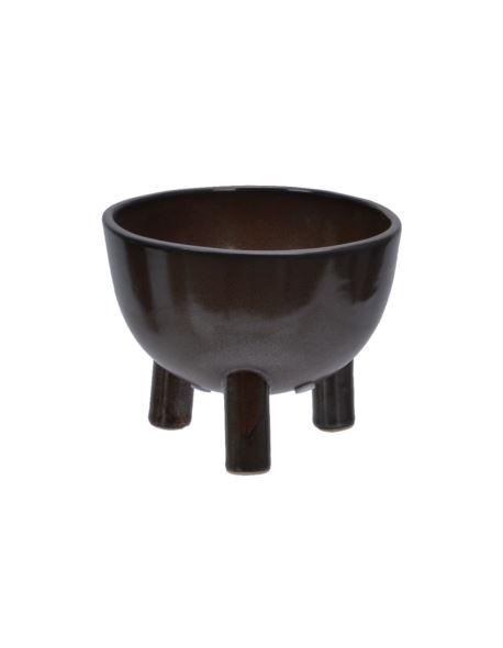 Osłonka ceramiczna na nóżkach brązowa duża