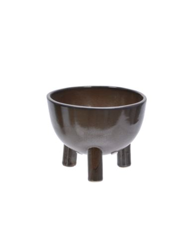 Osłonka ceramiczna na nóżkach brązowa mała