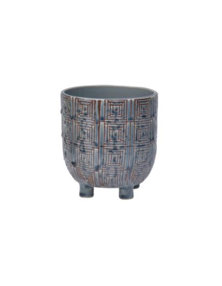 Doniczka ceramiczna na 3 nóżkach szaroniebieska L