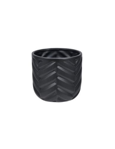 Doniczka ceramiczna czarna w jodełkę H14
