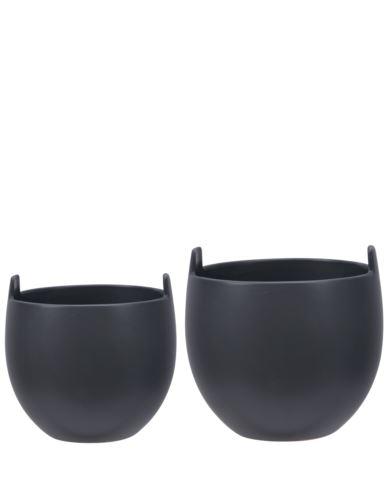 Doniczki ceramiczne z uszami czarne 2 szt.