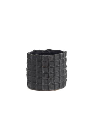 Doniczka ceramiczna czarna kratka h13