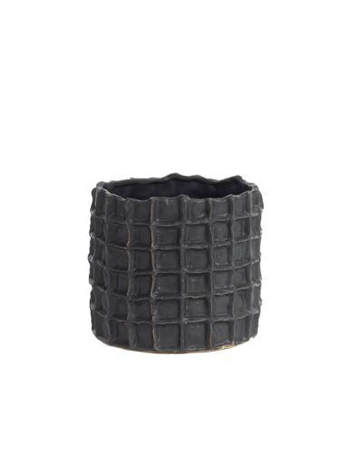 Doniczka ceramiczna czarna kratka h14,5