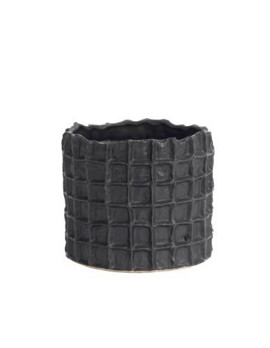 Doniczka ceramiczna czarna kratka h16,5
