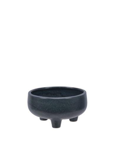 Doniczka ceramiczna na 3 nóżkach czarna niska