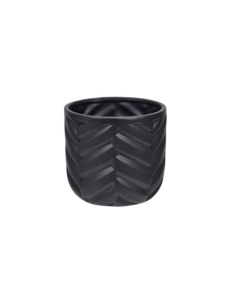 Doniczka ceramiczna czarna w jodełkę H16