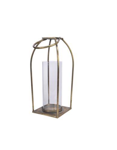 Lampion złoty ze szklanym wkładem metal H37cm