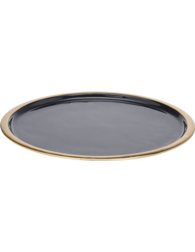 Taca Metalowa czarna ze złotym rantem D42 cm