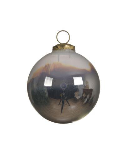 Bombka szkl. opalona metalizowana D7,5cm