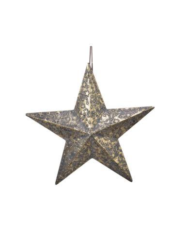 Gwiazda metalowa tłoczona stare złoto 41x39cm