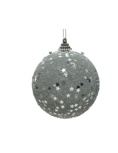 Bombka z gąbki srebrna cekiny gwiazdki H8cm