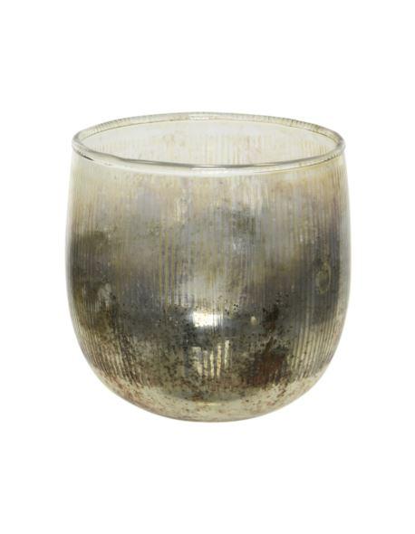 Lampion Szklany Opalany srebrny 8x8cm