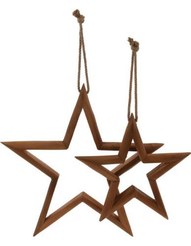 Gwiazdy drewniane wiszące 2 szt.