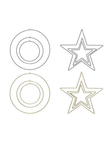 Gwiazdy metalowe czarne / złote 3 szt.