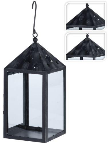 Latarnia czarna metal-szkło 33 cm