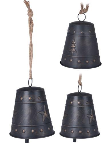 Dzwonek metalowy na sznurku jutowym kolor mix