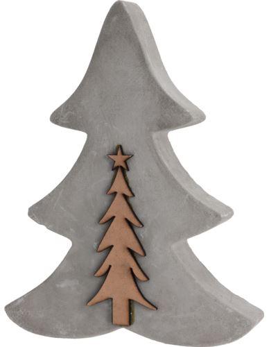 Choinka z drewnianym drzewkiem Beton H20cm