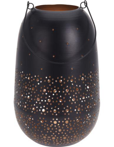 Lampion Metalowy czarny w kropki H30cm