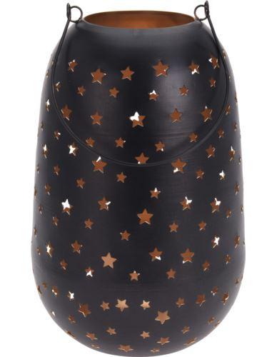 Lampion Metalowy czarny w gwiazdki H30cm