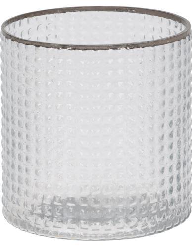 Lampionik Szkl. Cylinder Srebrny Rant 10 cm
